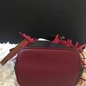 Burberry Bags - Burberry Bucket Red Suede & Canvas Cross Body Bag